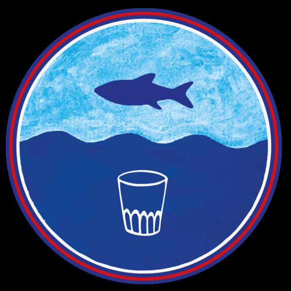 Botten Upp logotyp fisk och vattenglas